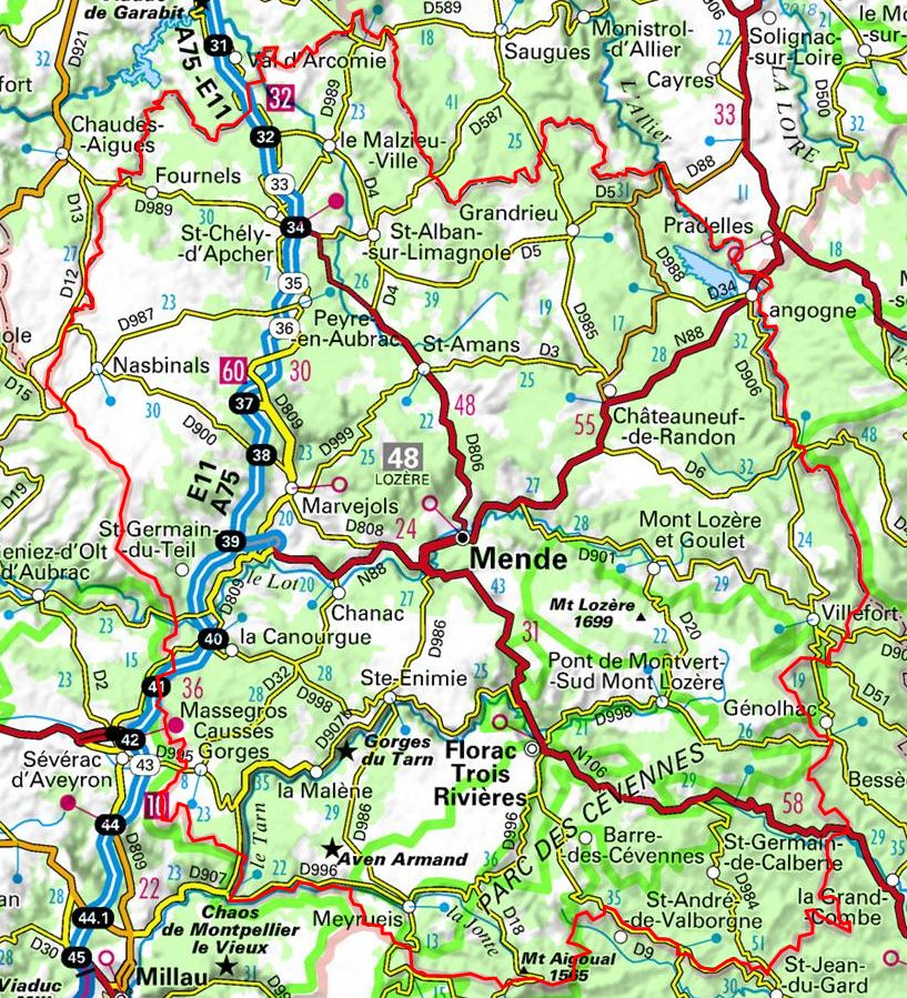 carte de la lozère Plan de la Lozère (Occitanie)